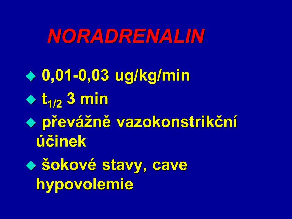 NORADRENALIN 0,01-0,03 ug/kg/min t1/2 3 min