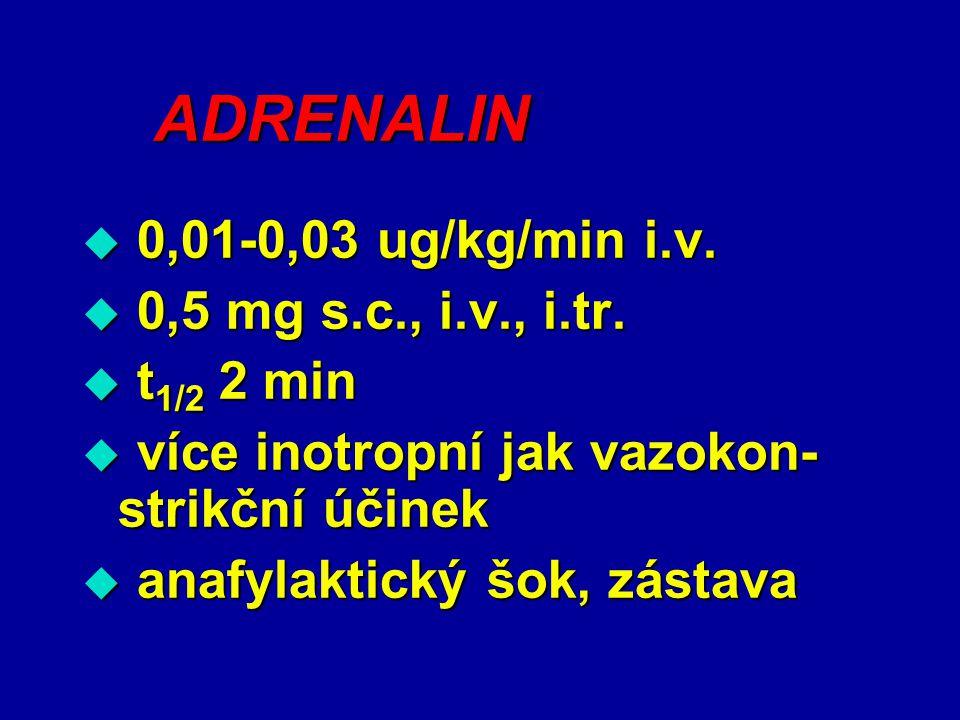 ADRENALIN 0,01-0,03 ug/kg/min i.v. 0,5 mg s.c., i.v., i.tr. t1/2 2 min