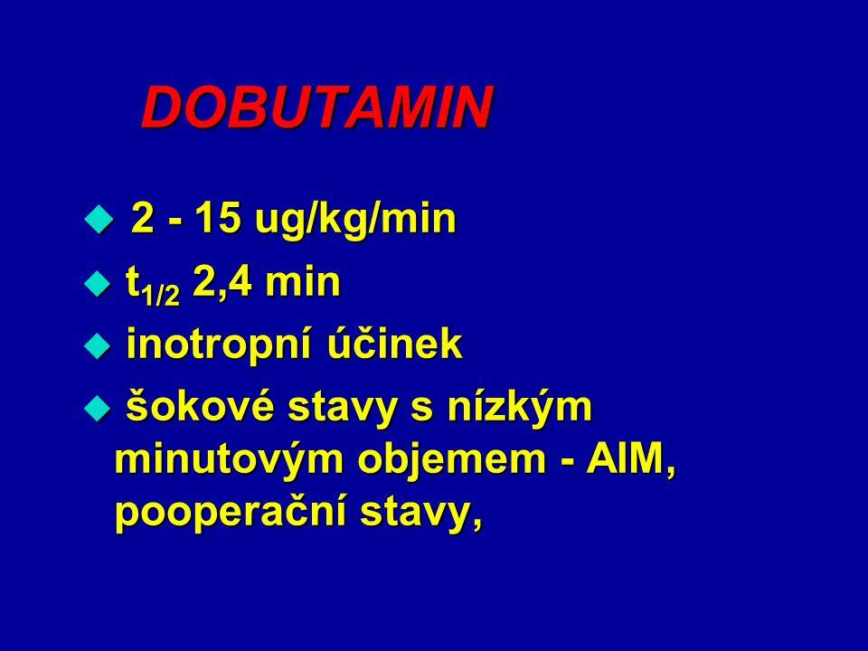 DOBUTAMIN 2 - 15 ug/kg/min t1/2 2,4 min inotropní účinek