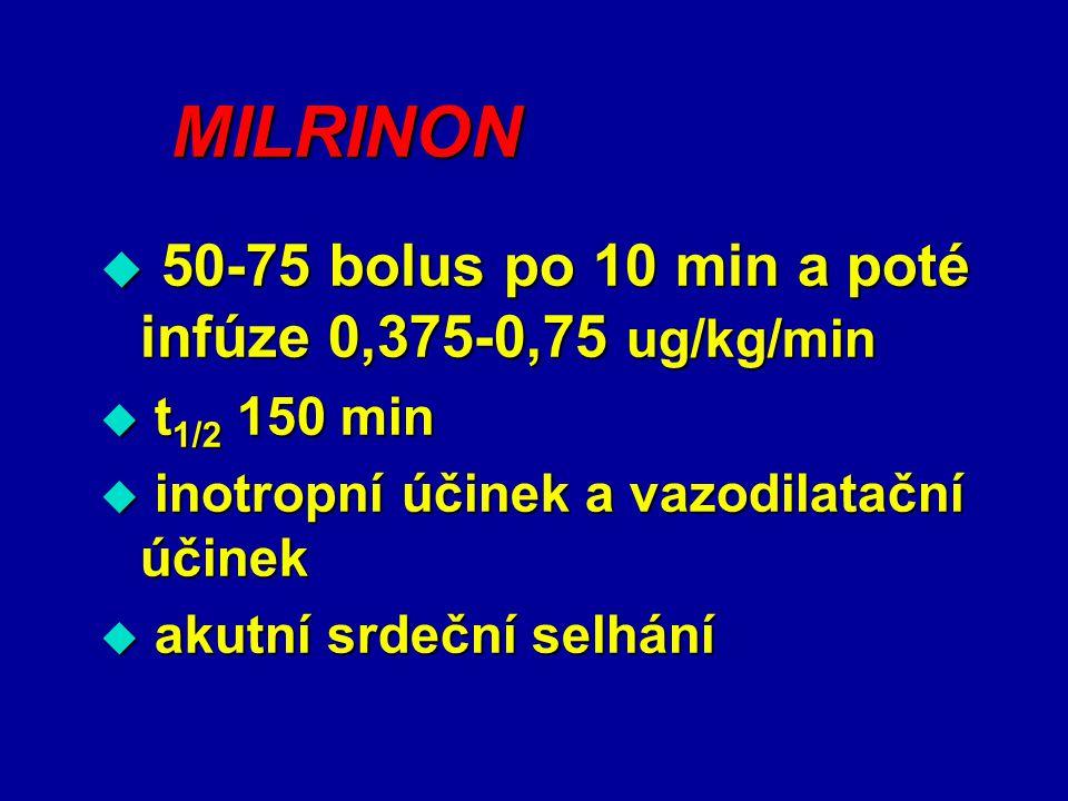 MILRINON 50-75 bolus po 10 min a poté infúze 0,375-0,75 ug/kg/min