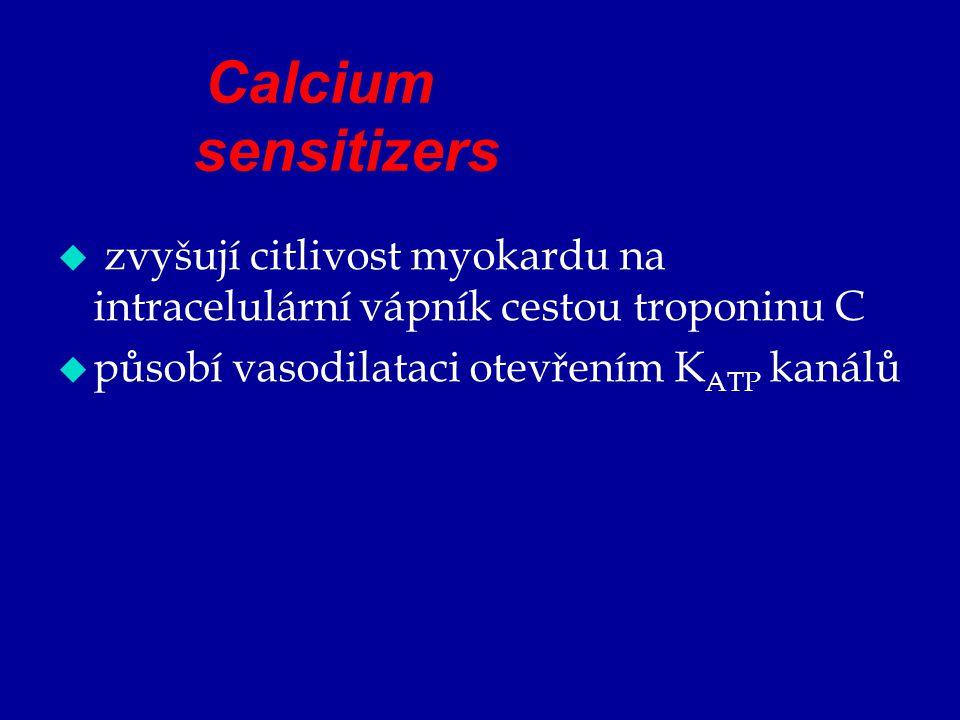 Calcium sensitizers zvyšují citlivost myokardu na intracelulární vápník cestou troponinu C.
