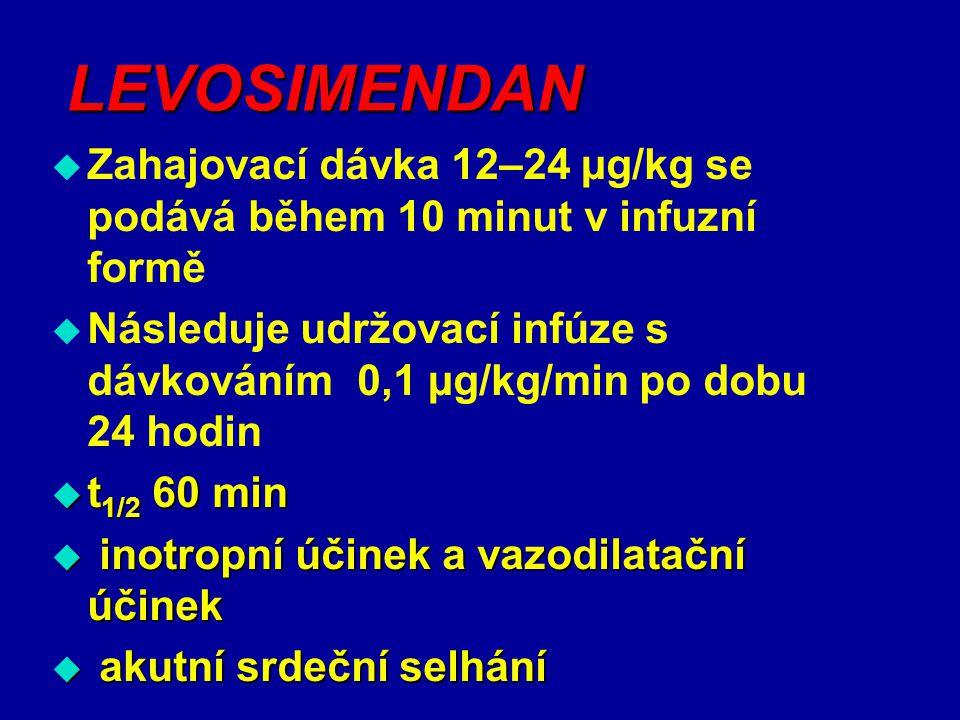 LEVOSIMENDAN Zahajovací dávka 12–24 µg/kg se podává během 10 minut v infuzní formě.