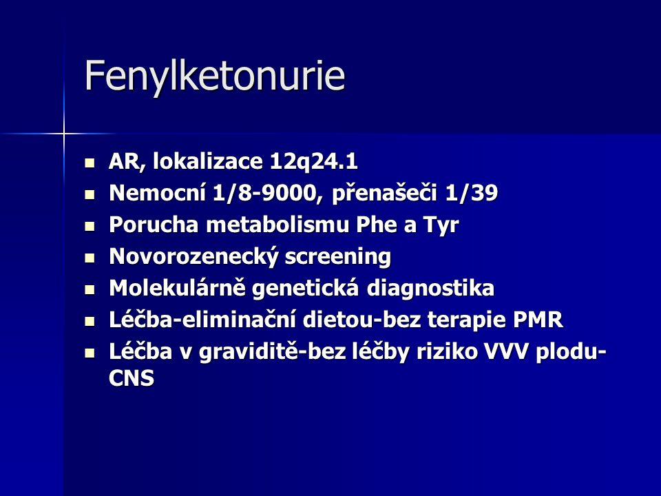 Fenylketonurie AR, lokalizace 12q24.1 Nemocní 1/8-9000, přenašeči 1/39