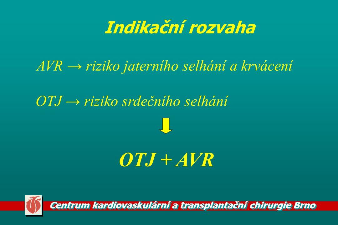 OTJ + AVR Indikační rozvaha AVR → riziko jaterního selhání a krvácení
