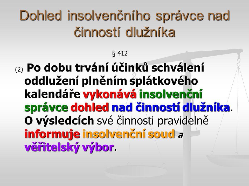 Dohled insolvenčního správce nad činností dlužníka