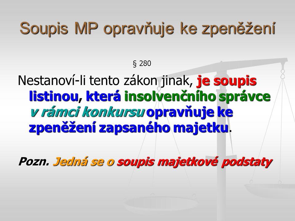Soupis MP opravňuje ke zpeněžení