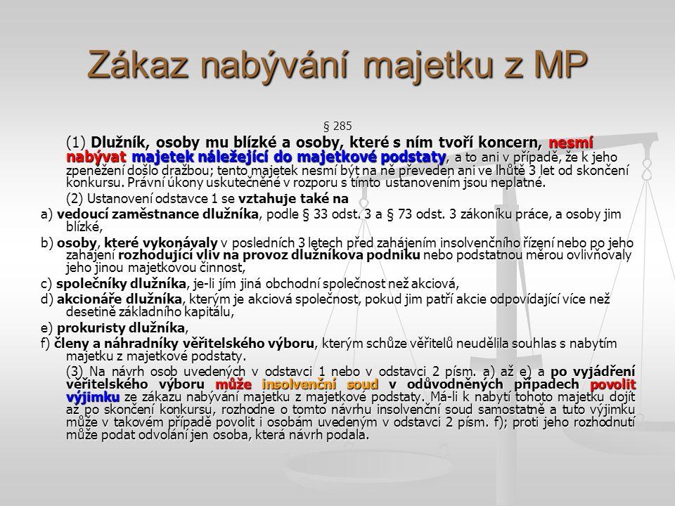 Zákaz nabývání majetku z MP
