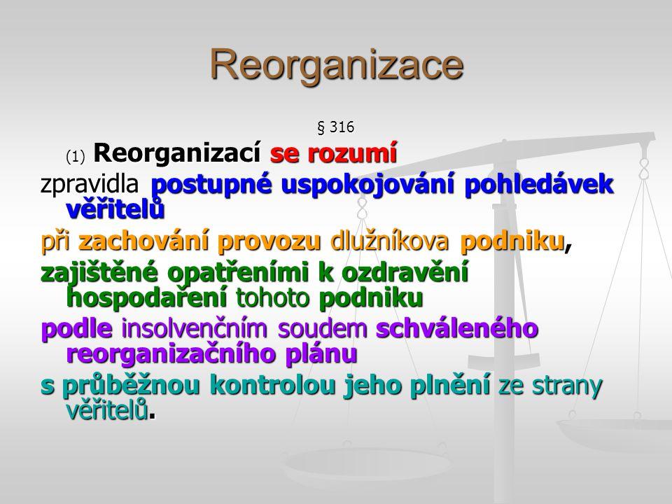 Reorganizace zpravidla postupné uspokojování pohledávek věřitelů
