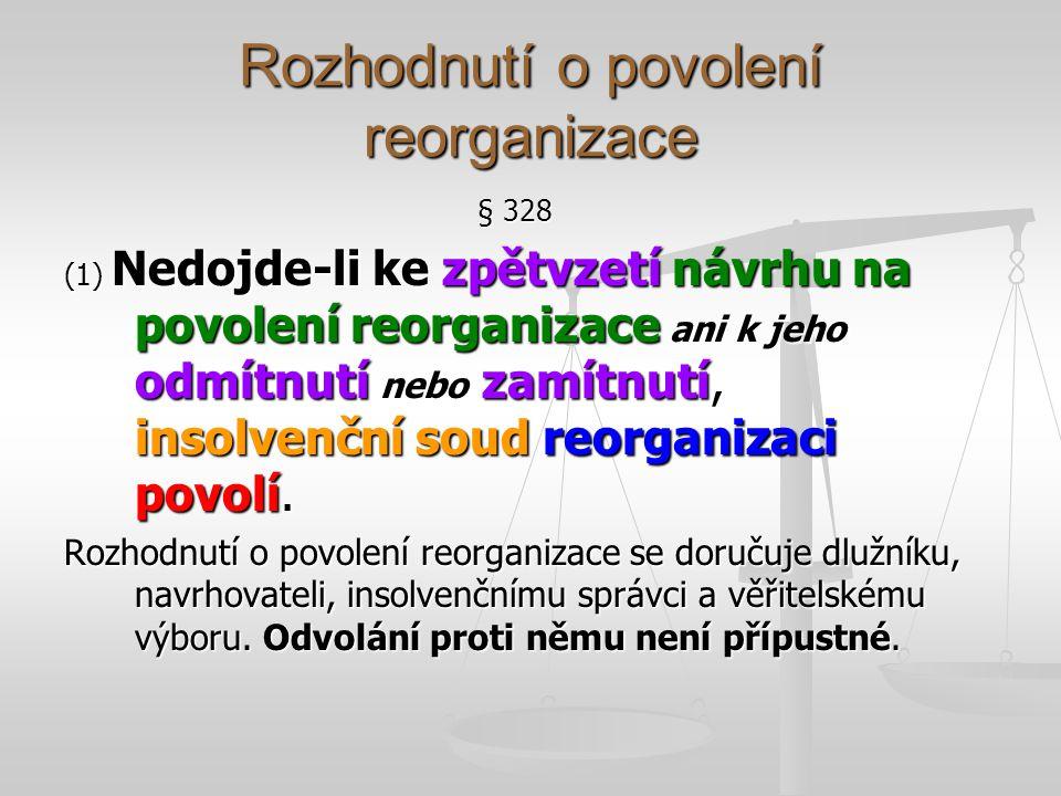 Rozhodnutí o povolení reorganizace