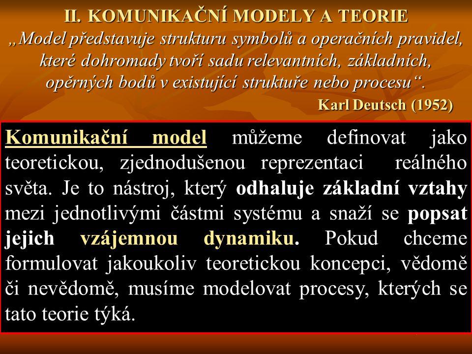 """II. KOMUNIKAČNÍ MODELY A TEORIE """"Model představuje strukturu symbolů a operačních pravidel, které dohromady tvoří sadu relevantních, základních, opěrných bodů v existující struktuře nebo procesu . Karl Deutsch (1952)"""