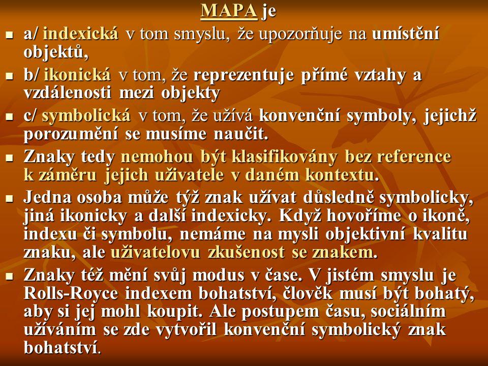MAPA je a/ indexická v tom smyslu, že upozorňuje na umístění objektů, b/ ikonická v tom, že reprezentuje přímé vztahy a vzdálenosti mezi objekty.