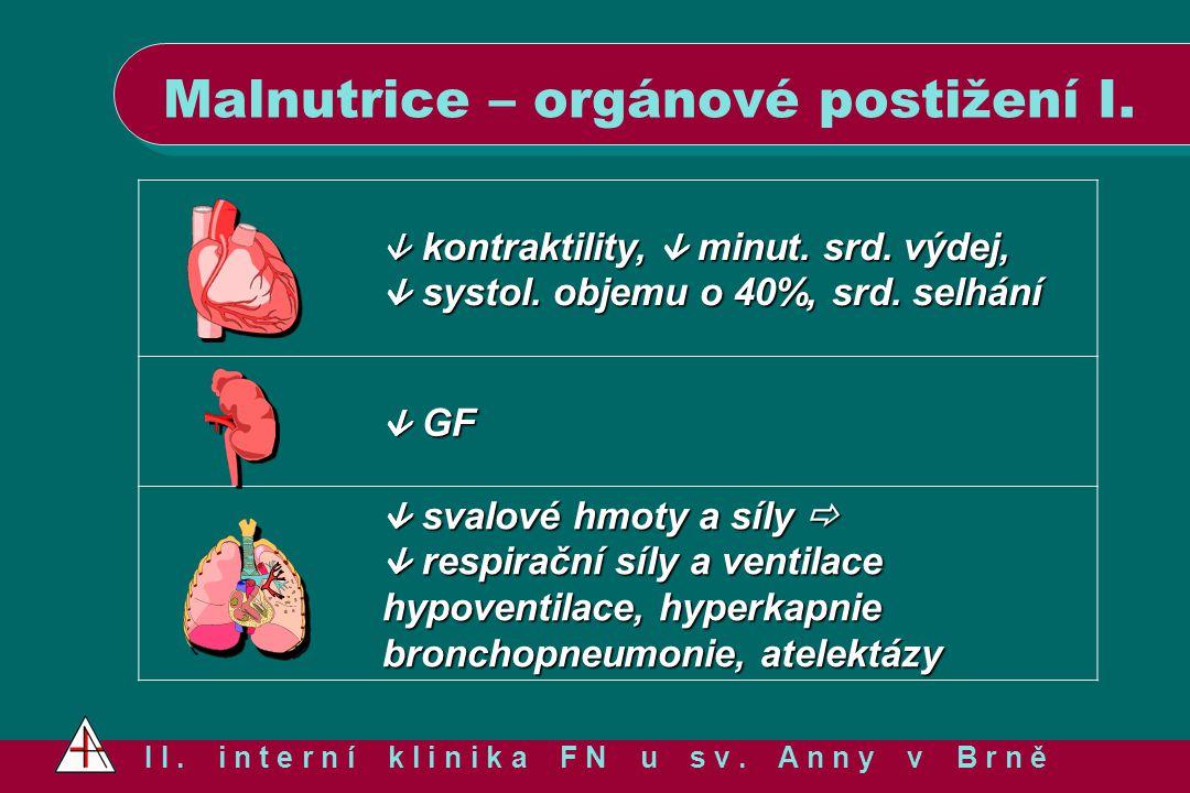 Malnutrice – orgánové postižení I.