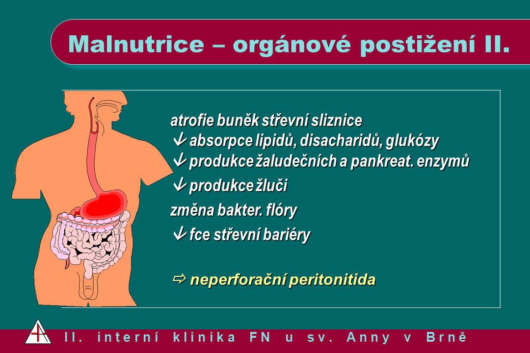 Malnutrice – orgánové postižení II.
