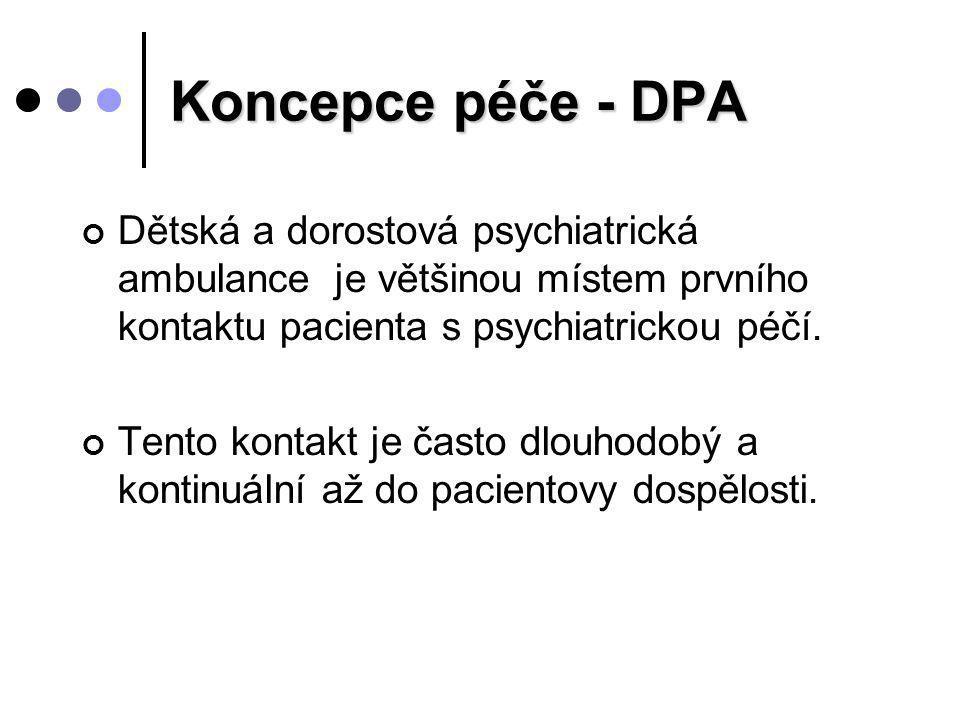 Koncepce péče - DPA Dětská a dorostová psychiatrická ambulance je většinou místem prvního kontaktu pacienta s psychiatrickou péčí.