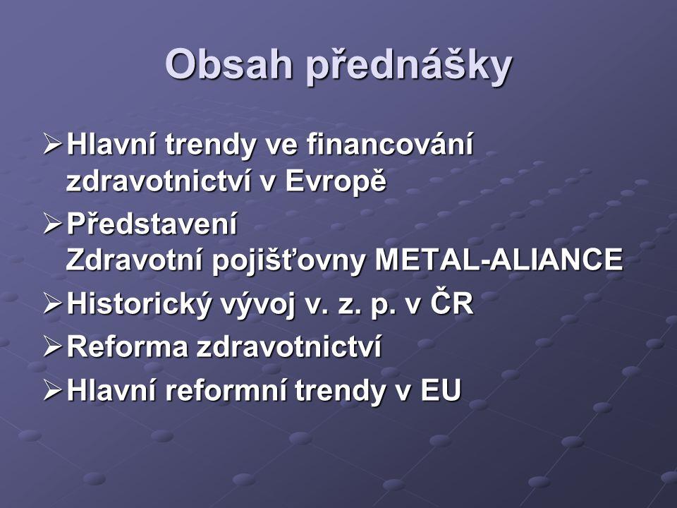 Obsah přednášky Hlavní trendy ve financování zdravotnictví v Evropě