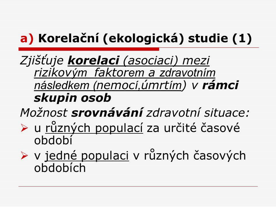 a) Korelační (ekologická) studie (1)