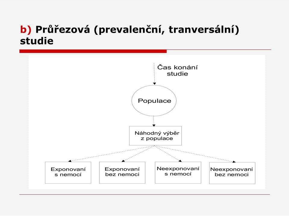 b) Průřezová (prevalenční, tranversální) studie