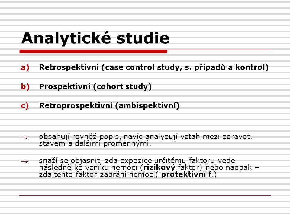 Analytické studie Retrospektivní (case control study, s. případů a kontrol) Prospektivní (cohort study)
