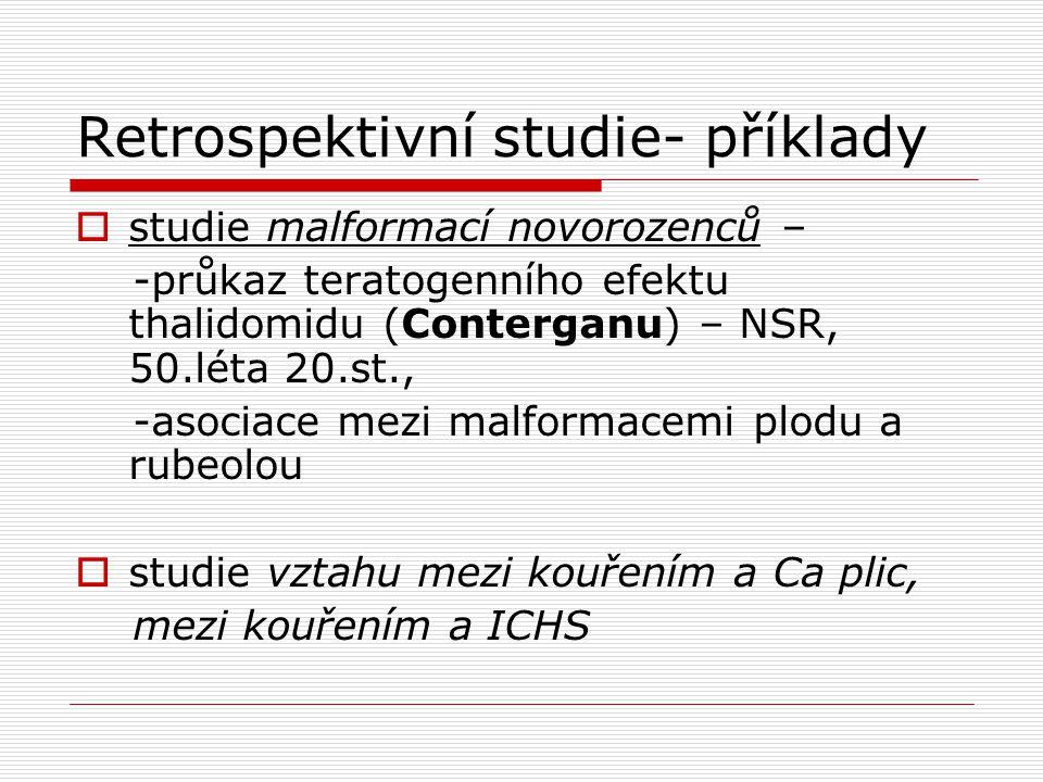 Retrospektivní studie- příklady