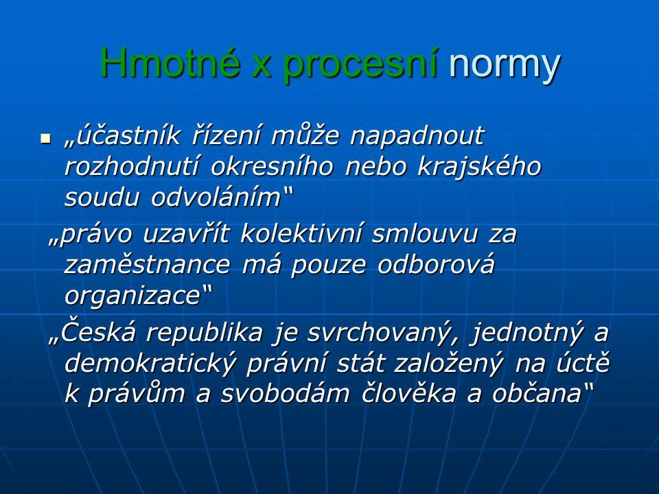 Hmotné x procesní normy