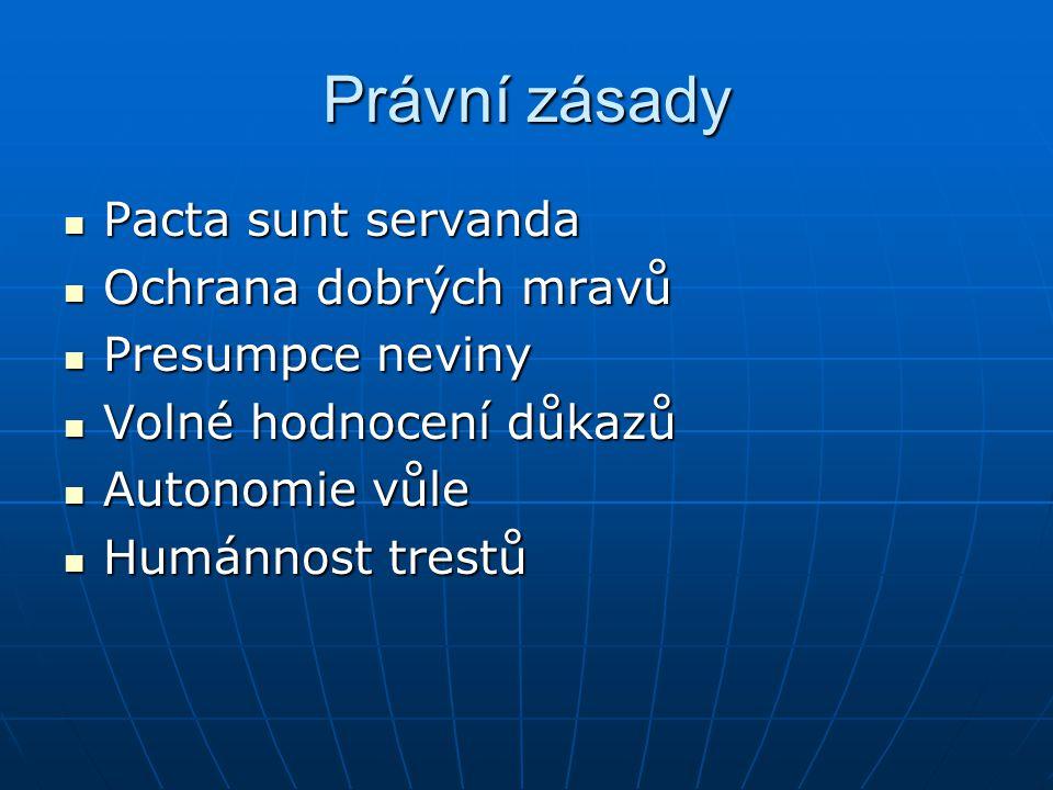 Právní zásady Pacta sunt servanda Ochrana dobrých mravů
