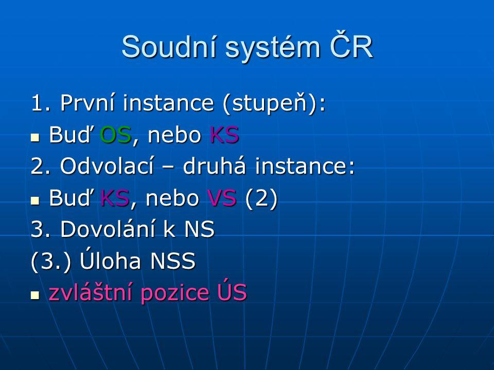Soudní systém ČR 1. První instance (stupeň): Buď OS, nebo KS