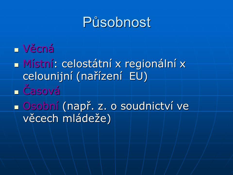 Působnost Věcná. Místní: celostátní x regionální x celounijní (nařízení EU) Časová.