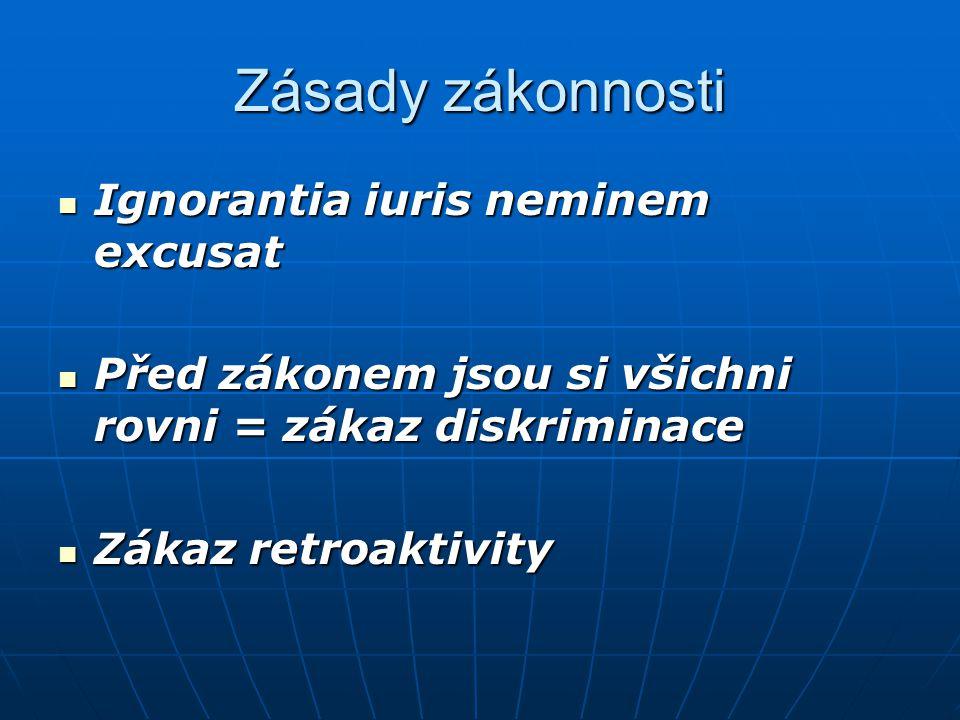 Zásady zákonnosti Ignorantia iuris neminem excusat