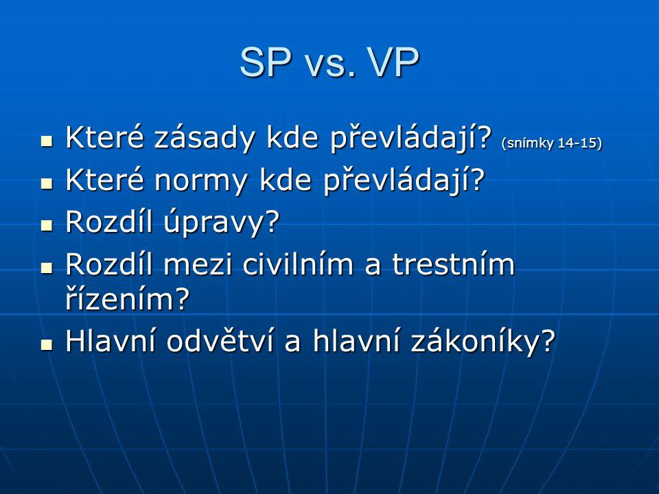 SP vs. VP Které zásady kde převládají (snímky 14-15)