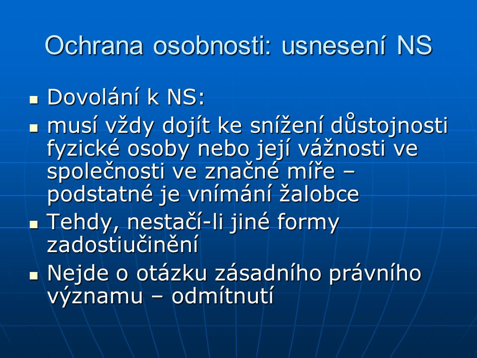 Ochrana osobnosti: usnesení NS