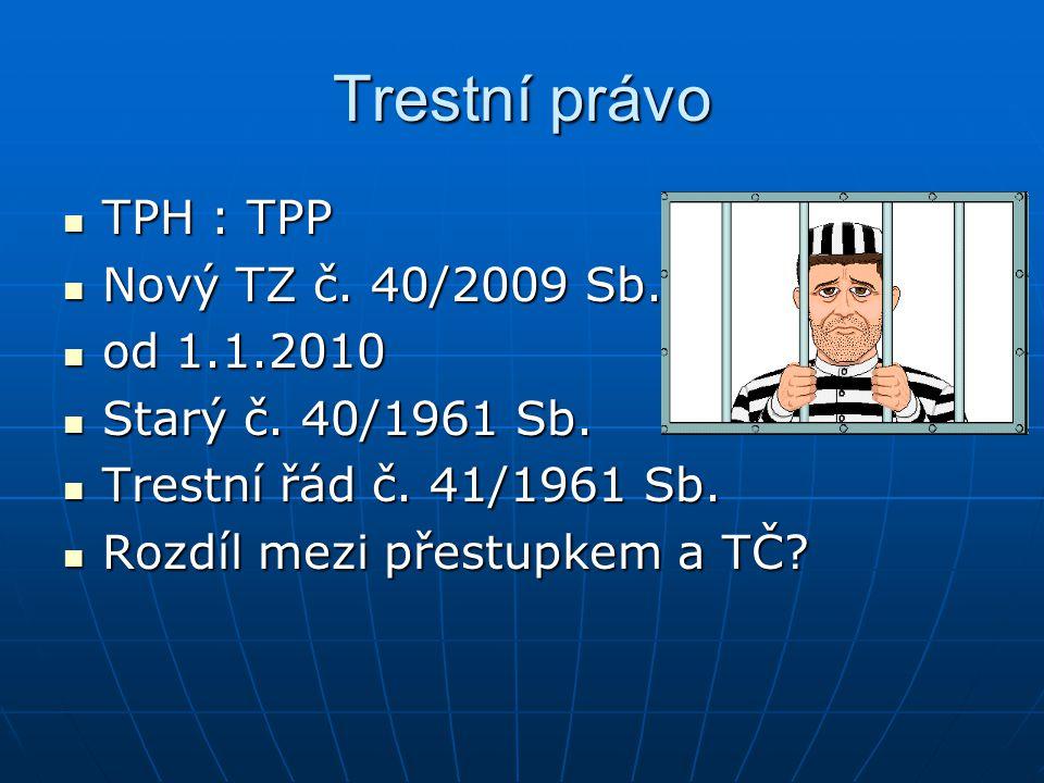 Trestní právo TPH : TPP Nový TZ č. 40/2009 Sb. od 1.1.2010