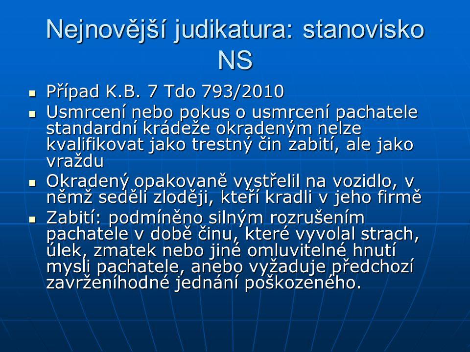 Nejnovější judikatura: stanovisko NS