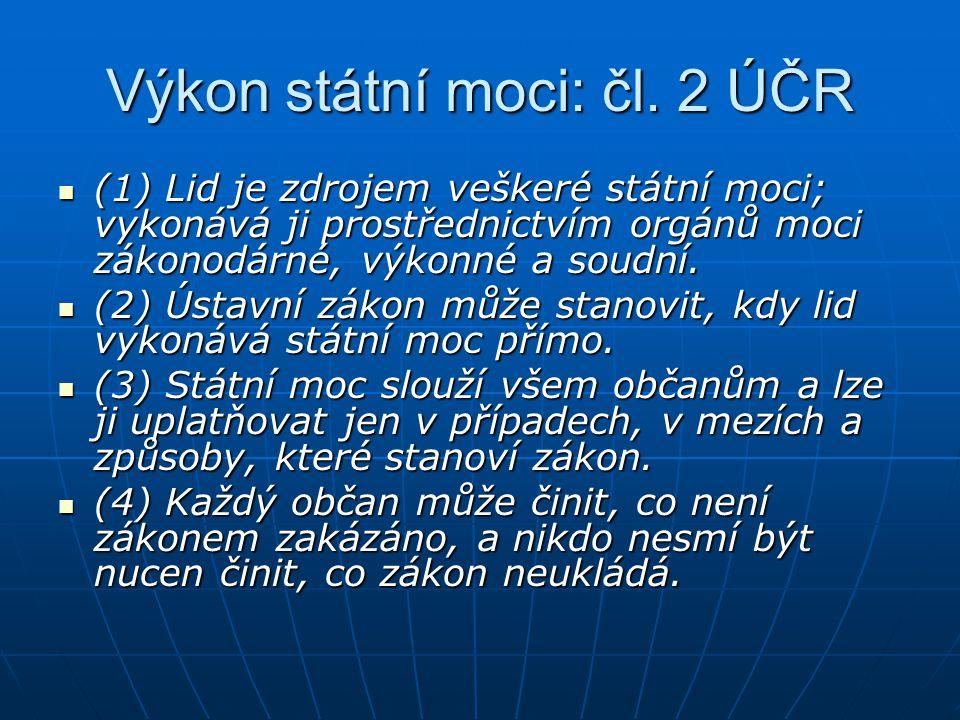 Výkon státní moci: čl. 2 ÚČR