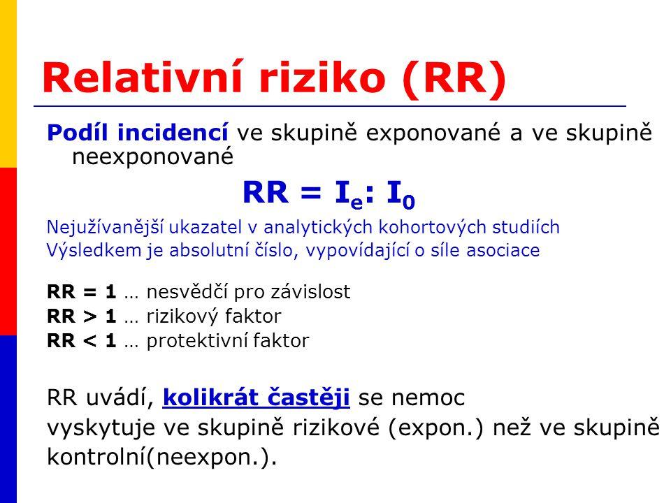 Relativní riziko (RR) RR = Ie: I0