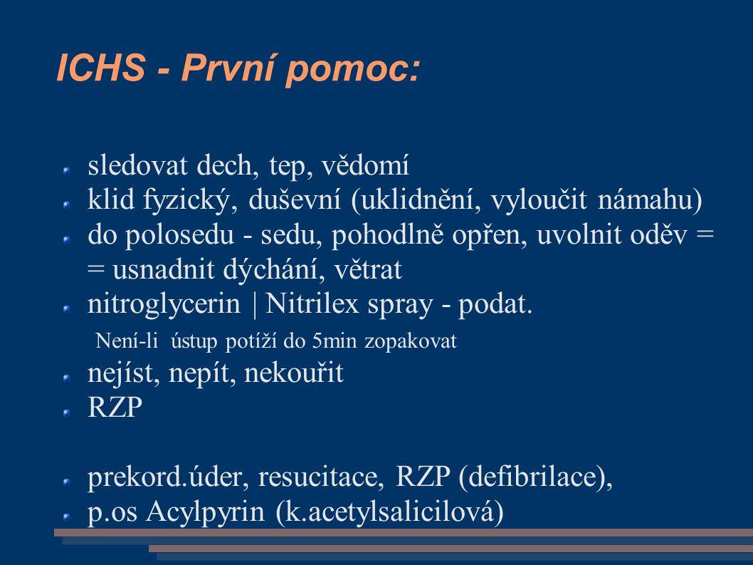 ICHS - První pomoc: sledovat dech, tep, vědomí