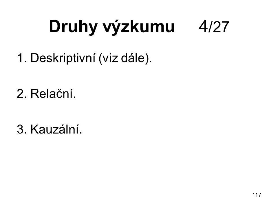 Druhy výzkumu 4/27 1. Deskriptivní (viz dále). 2. Relační.