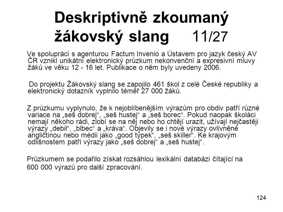 Deskriptivně zkoumaný žákovský slang 11/27