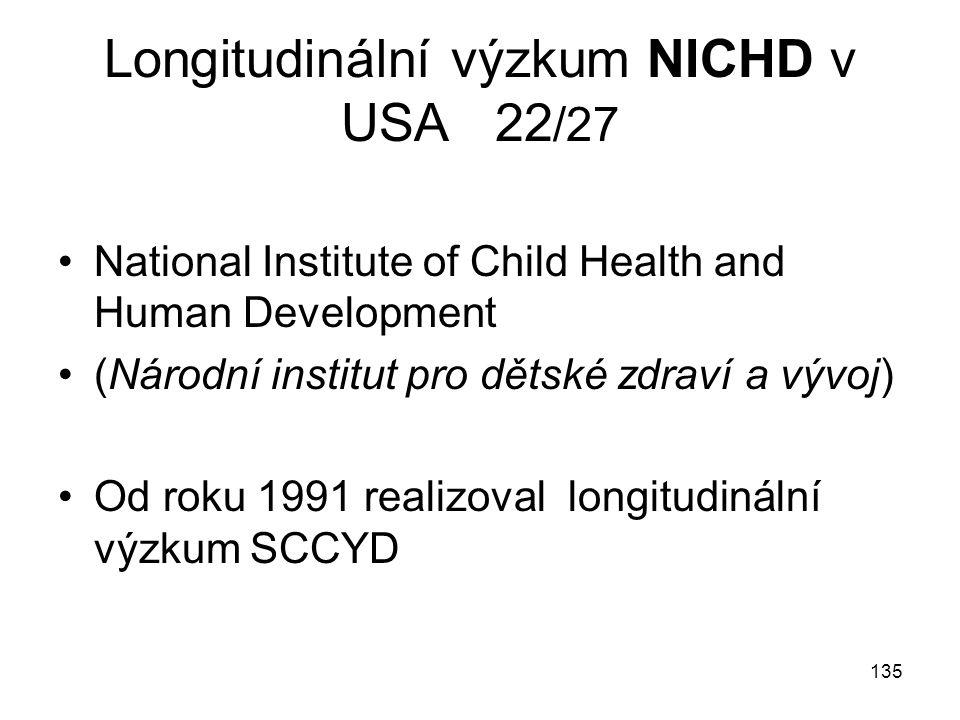 Longitudinální výzkum NICHD v USA 22/27