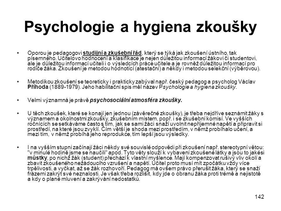 Psychologie a hygiena zkoušky