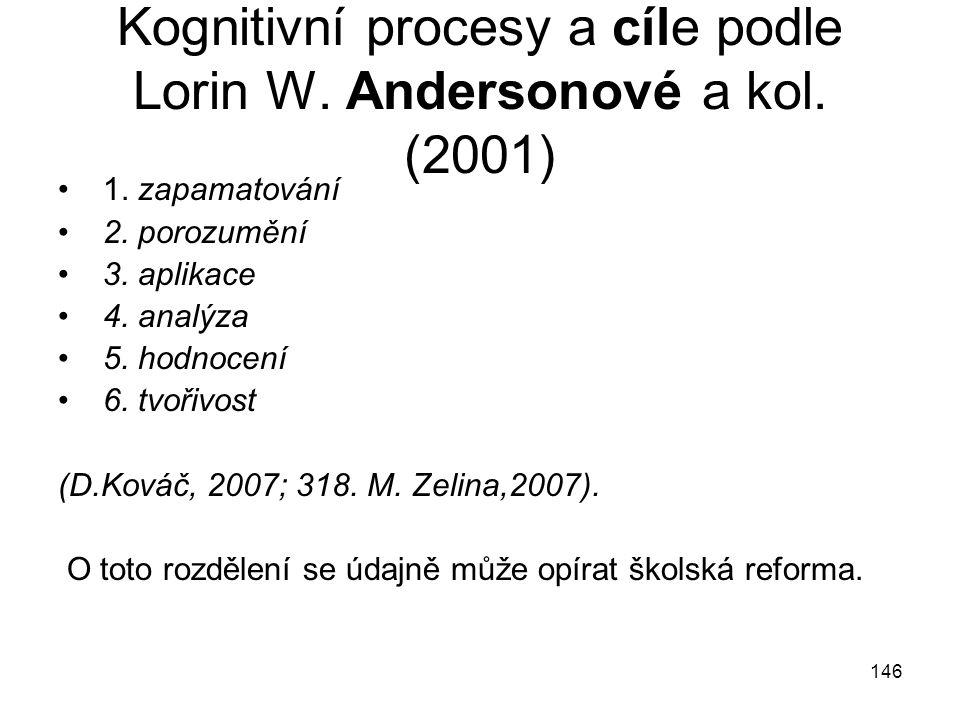 Kognitivní procesy a cíle podle Lorin W. Andersonové a kol. (2001)