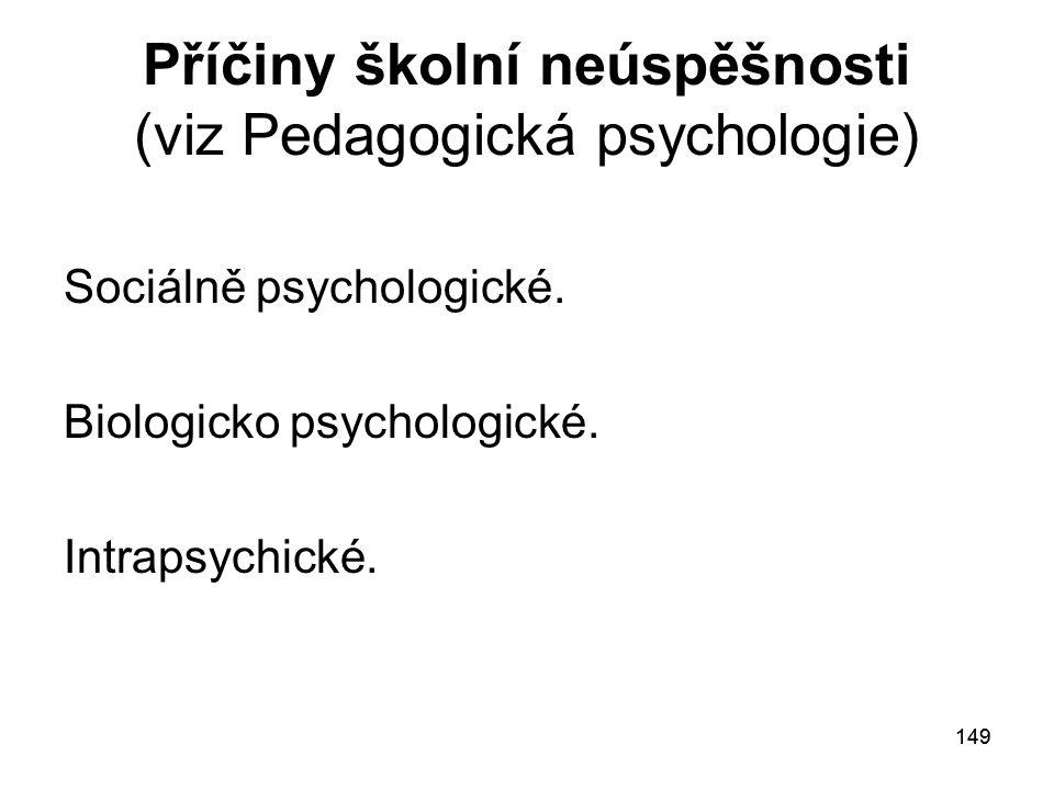 Příčiny školní neúspěšnosti (viz Pedagogická psychologie)