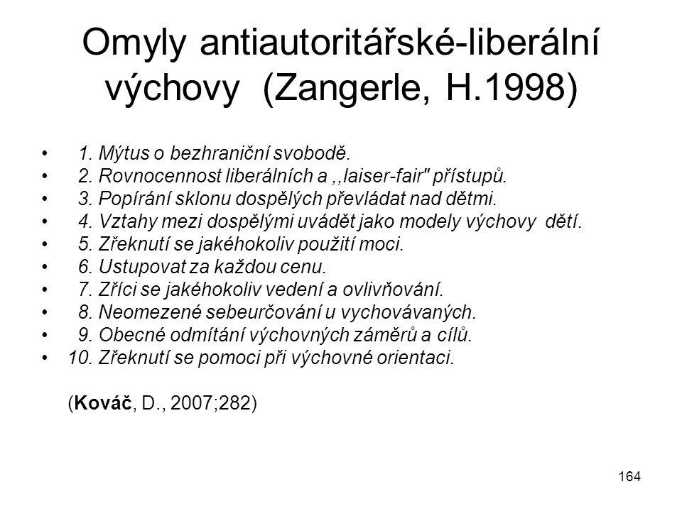 Omyly antiautoritářské-liberální výchovy (Zangerle, H.1998)