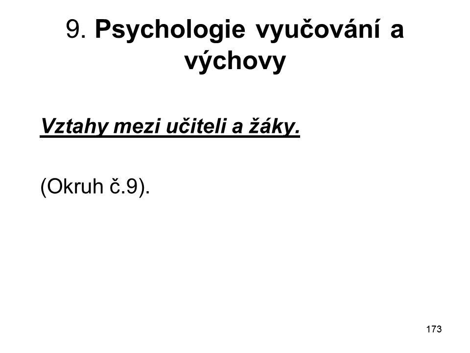 9. Psychologie vyučování a výchovy