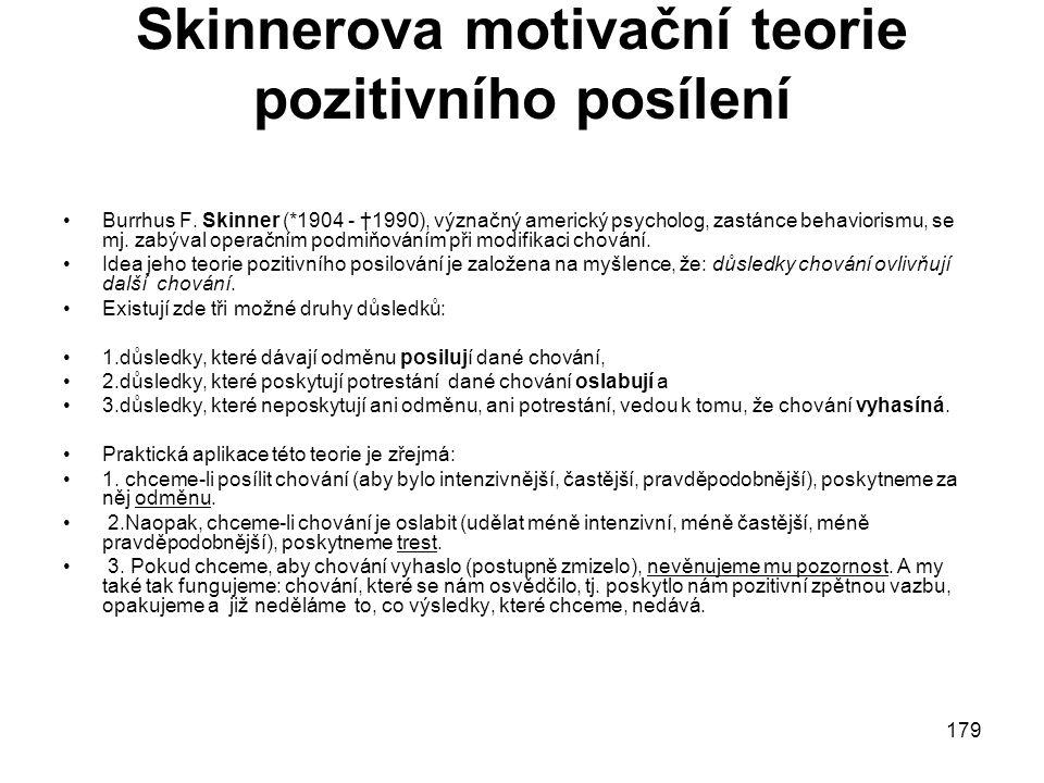 Skinnerova motivační teorie pozitivního posílení