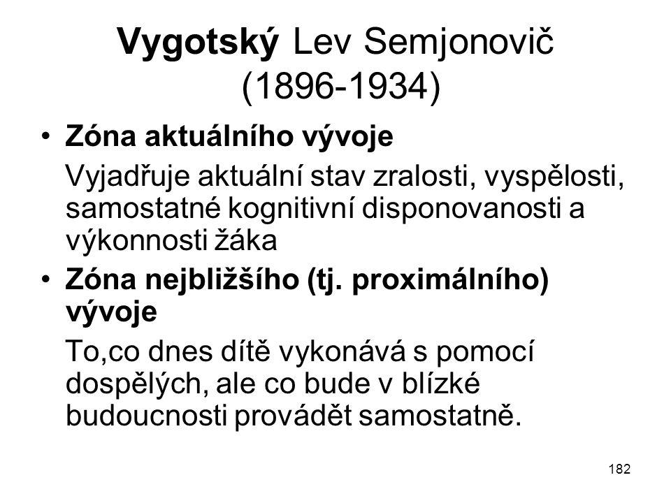 Vygotský Lev Semjonovič (1896-1934)