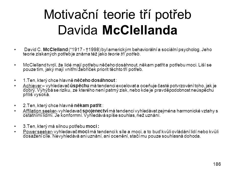 Motivační teorie tří potřeb Davida McClellanda