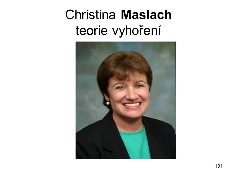 Christina Maslach teorie vyhoření