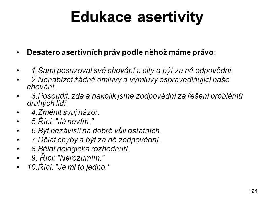Edukace asertivity Desatero asertivních práv podle něhož máme právo: