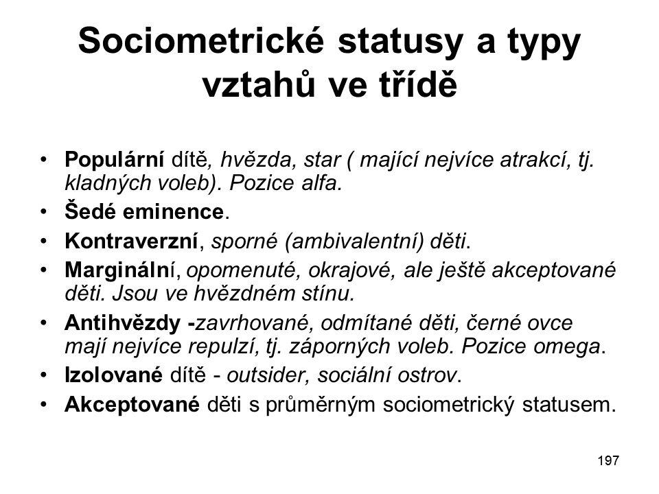 Sociometrické statusy a typy vztahů ve třídě