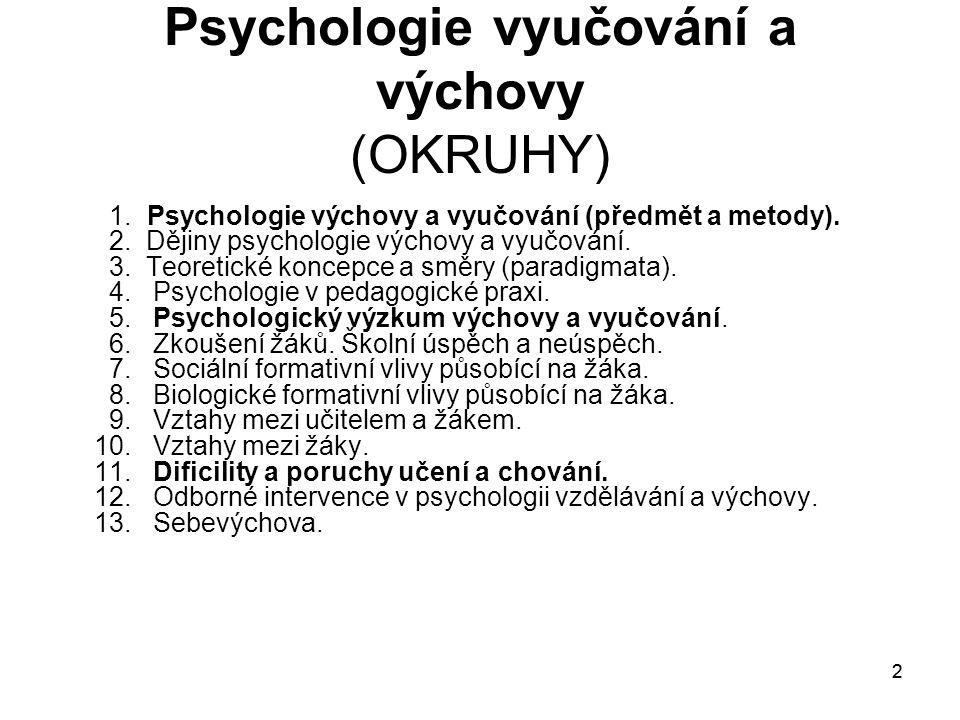 Psychologie vyučování a výchovy (OKRUHY)